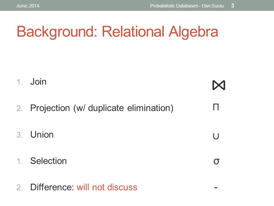 Background: Relational Algebra 1. Join 2. Projection (w/ duplicate elimination) 3.