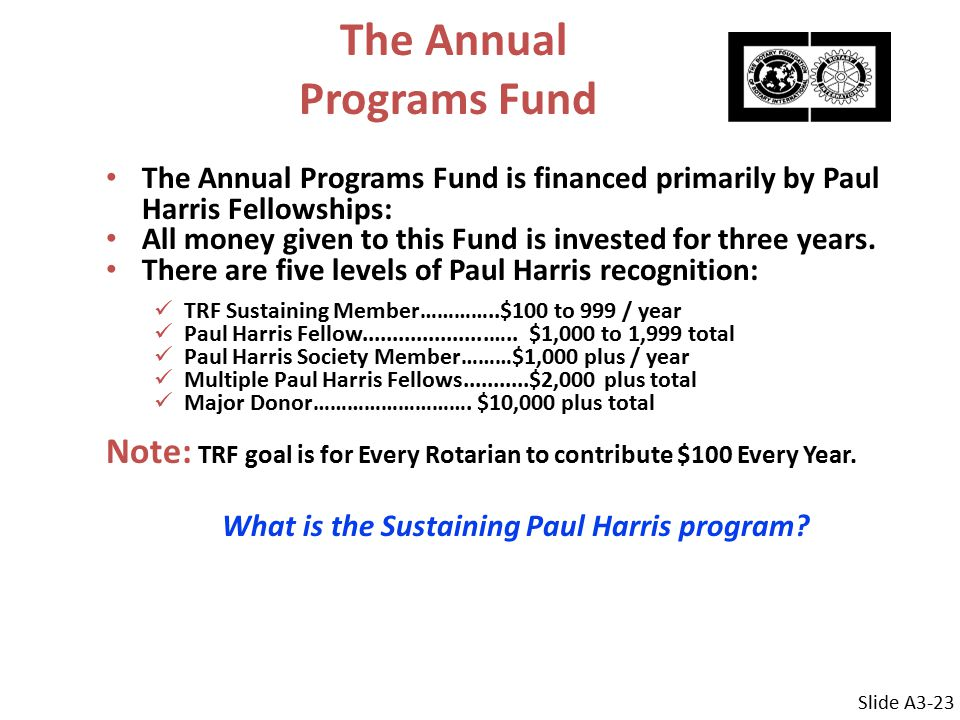 The Annual Programs Fund The Annual Programs Fund is financed primarily by Paul Harris Fellowships: All money given to this Fund is invested for three years.