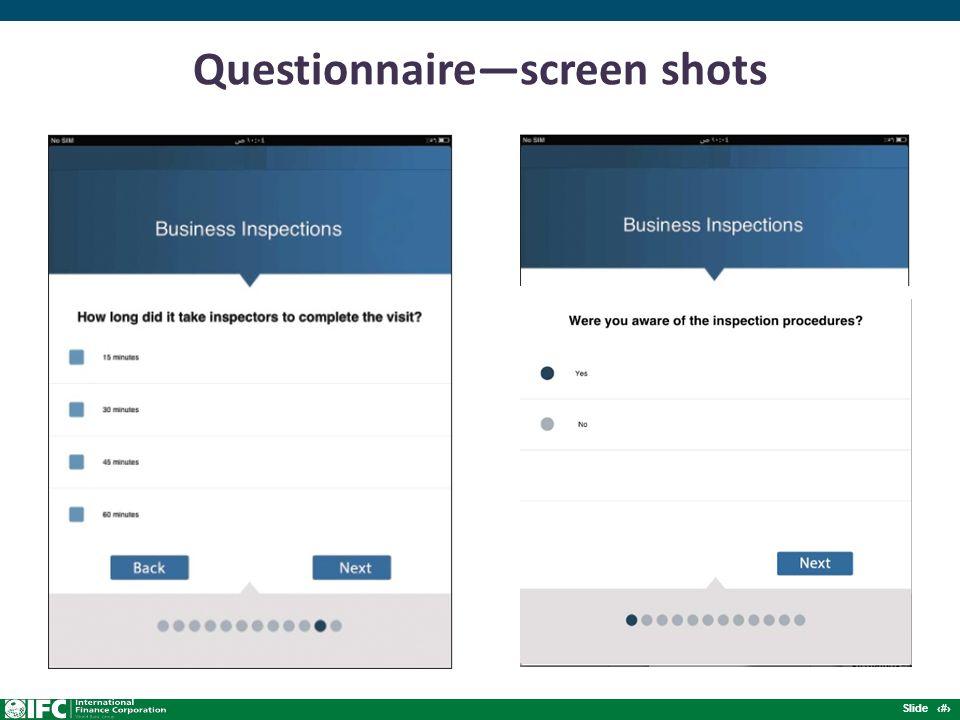 Slide 8 Questionnaire—screen shots