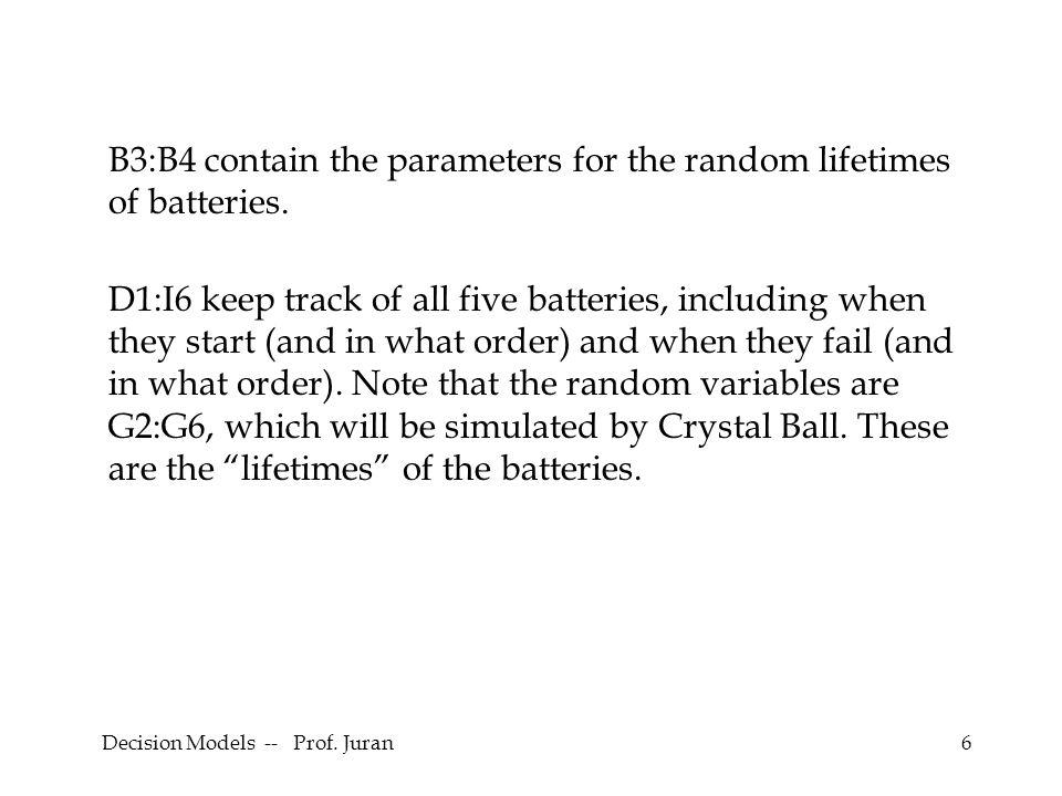Decision Models -- Prof. Juran17