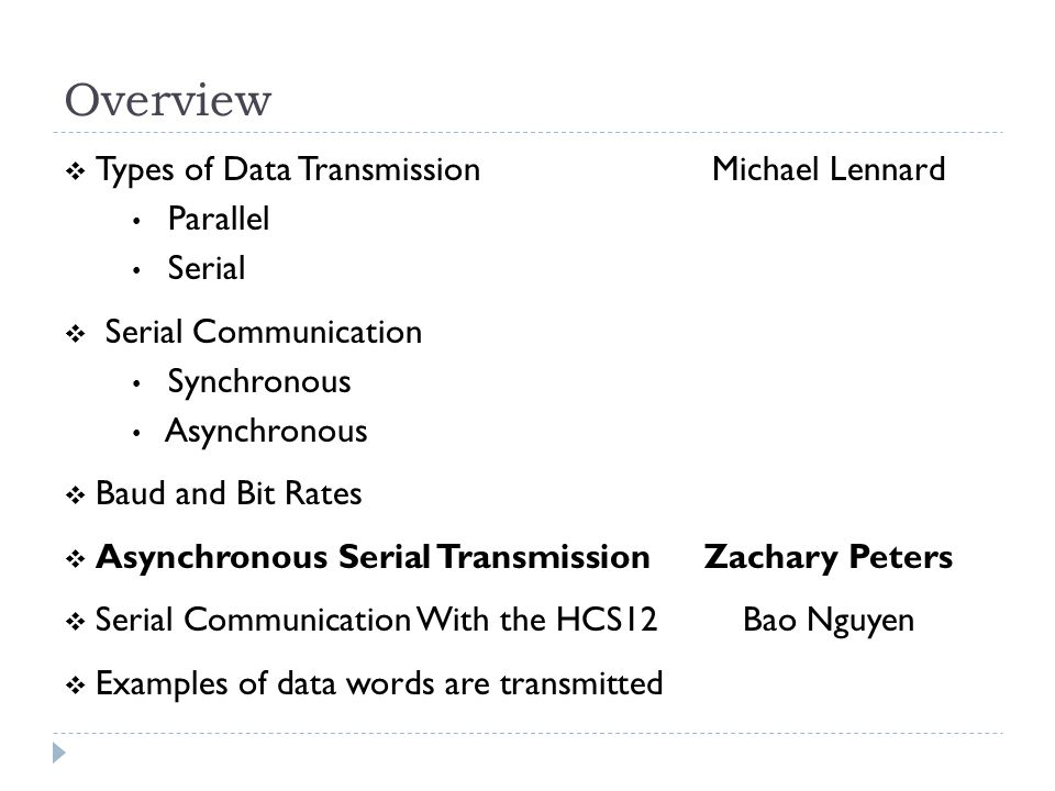 Overview  Types of Data TransmissionMichael Lennard Parallel Serial  Serial Communication Synchronous Asynchronous  Baud and Bit Rates  Asynchronous Serial TransmissionZachary Peters  Serial Communication With the HCS12Bao Nguyen  Examples of data words are transmitted