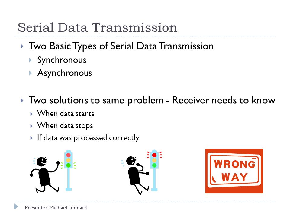Serial Data Transmission  Two Basic Types of Serial Data Transmission  Synchronous  Asynchronous  Two solutions to same problem - Receiver needs to know  When data starts  When data stops  If data was processed correctly Presenter: Michael Lennard
