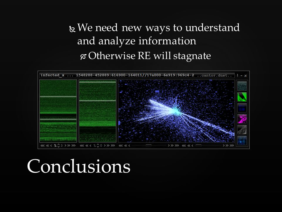  We need new ways to understand and analyze information  Otherwise RE will stagnate Conclusions