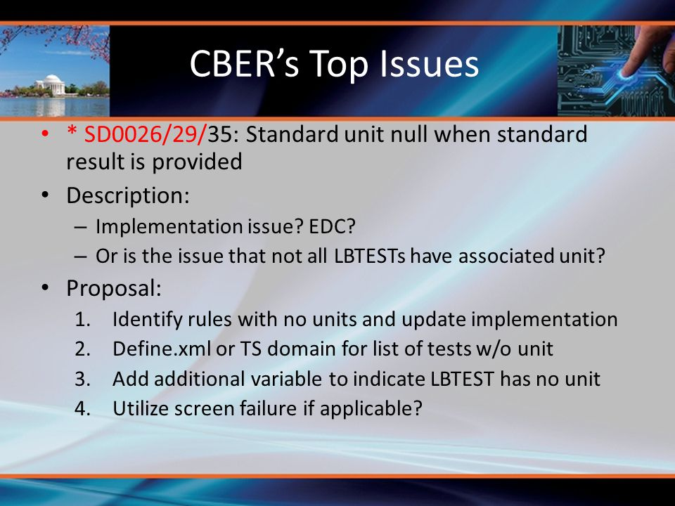CBER's Top Issues * SD0026/29/35: Standard unit null when standard result is provided Description: – Implementation issue? EDC? – Or is the issue that