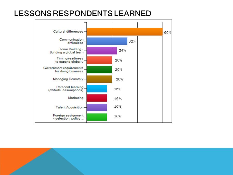 LESSONS RESPONDENTS LEARNED 32% 60% 24% 20% 16%