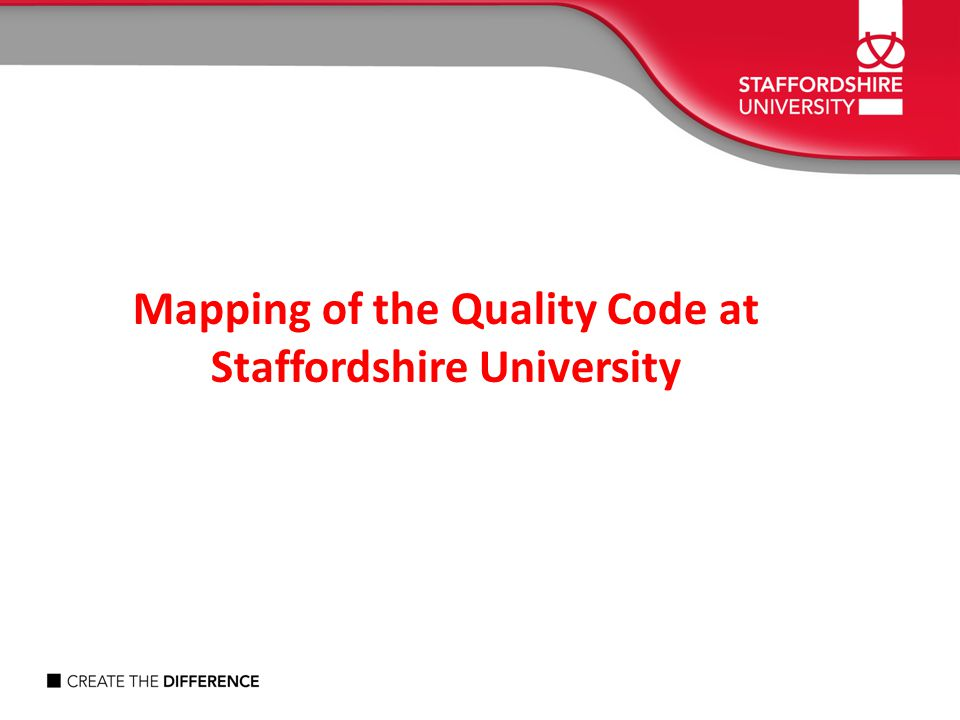 Mapping of the Quality Code at Staffordshire University