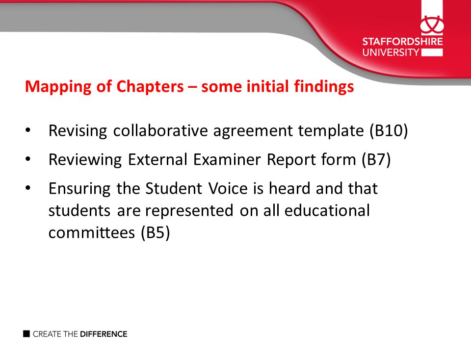 Mapping of Chapters – some initial findings Revising collaborative agreement template (B10) Reviewing External Examiner Report form (B7) Ensuring the