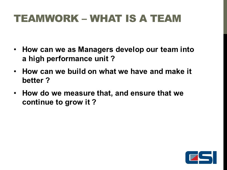 TEAMWORK – WHAT IS A TEAM How can we as Managers develop our team into a high performance unit ? How can we build on what we have and make it better ?