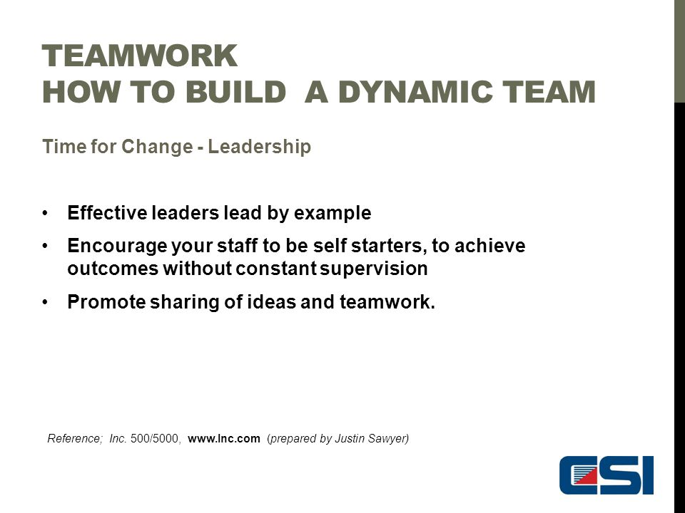TEAMWORK HOW TO BUILD A DYNAMIC TEAM Time for Change - Leadership Effective leaders lead by example Encourage your staff to be self starters, to achie
