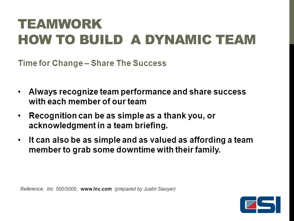 TEAMWORK HOW TO BUILD A DYNAMIC TEAM Time for Change – Share The Success Always recognize team performance and share success with each member of our t