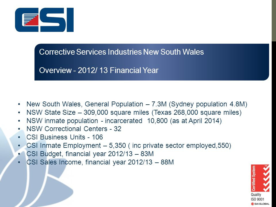Corrective Services Industries New South Wales Overview - 2012/ 13 Financial Year New South Wales, General Population – 7.3M (Sydney population 4.8M)