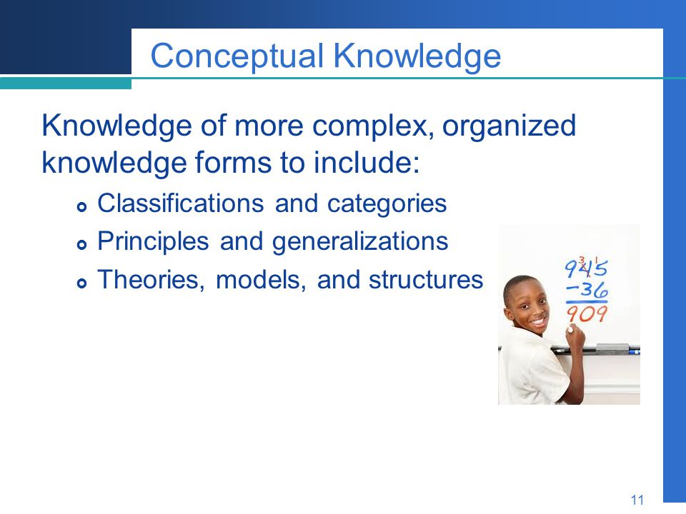 Company LOGO 11 Conceptual Knowledge Knowledge of more complex, organized knowledge forms to include:  Classifications and categories  Principles an