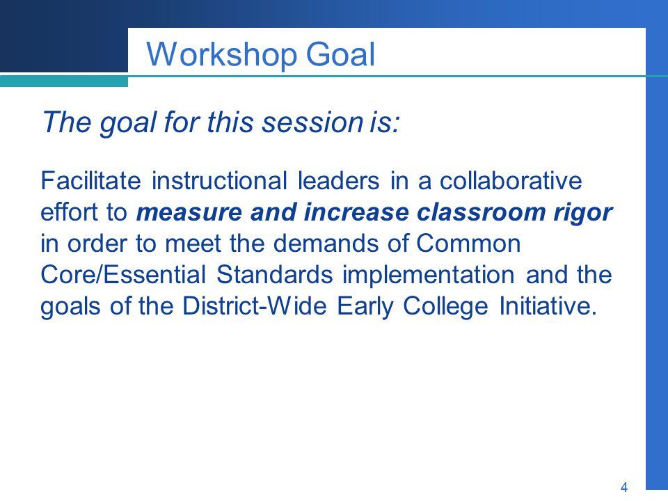Company LOGO 4 Workshop Goal The goal for this session is: Facilitate instructional leaders in a collaborative effort to measure and increase classroo