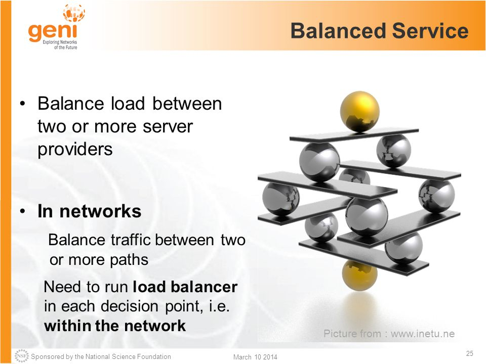 Sponsored by the National Science Foundation 25 March 10 2014 Balanced Service Picture from : www.inetu.ne Balance load between two or more server providers In networks Balance traffic between two or more paths Need to run load balancer in each decision point, i.e.