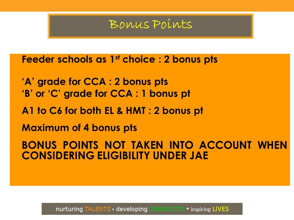 Feeder schools as 1 st choice : 2 bonus pts 'A' grade for CCA : 2 bonus pts 'B' or 'C' grade for CCA : 1 bonus pt A1 to C6 for both EL & HMT : 2 bonus