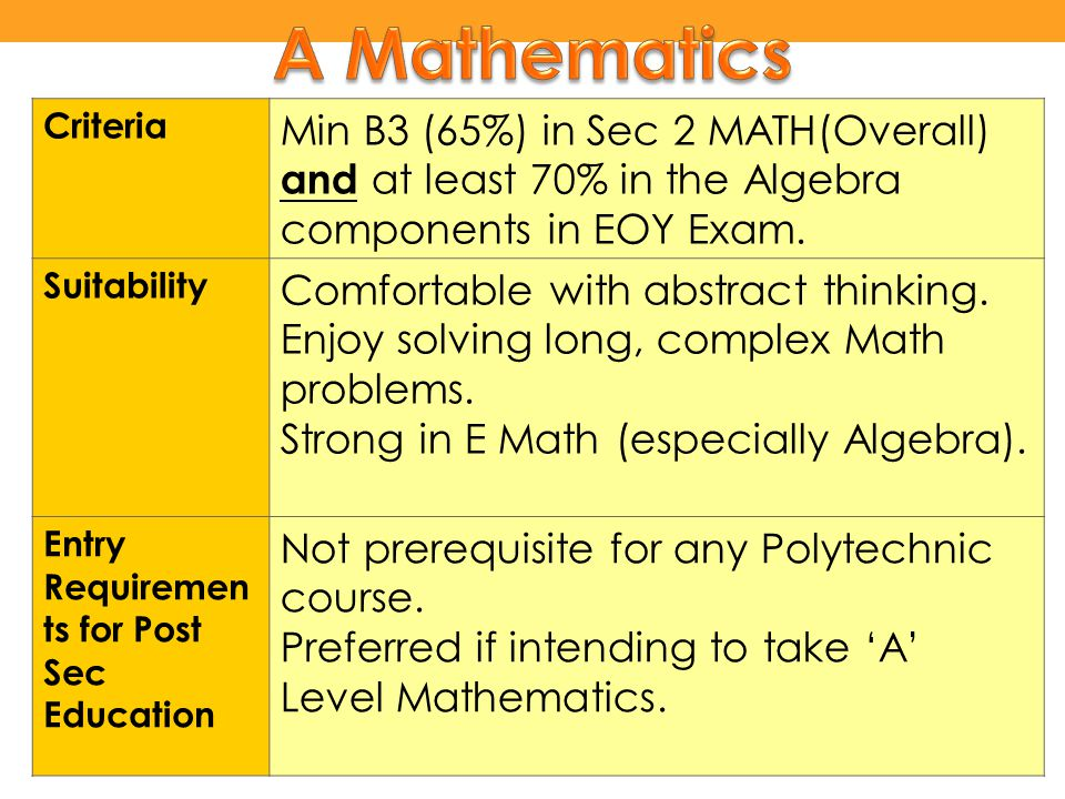 Criteria Min B3 (65%) in Sec 2 MATH(Overall) and at least 70% in the Algebra components in EOY Exam. Suitability Comfortable with abstract thinking. E