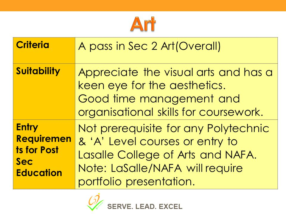 Criteria A pass in Sec 2 Art(Overall) Suitability Appreciate the visual arts and has a keen eye for the aesthetics.