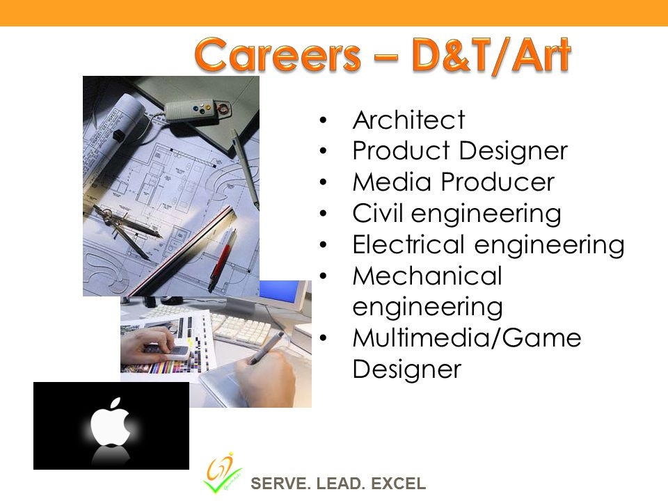 Architect Product Designer Media Producer Civil engineering Electrical engineering Mechanical engineering Multimedia/Game Designer SERVE.