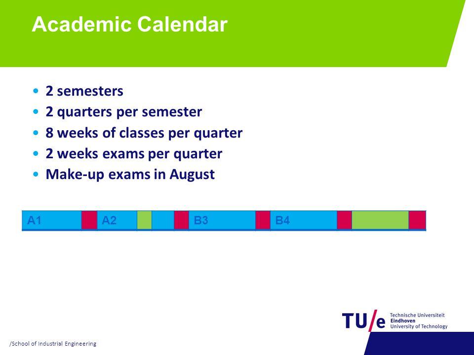 Academic Calendar 2 semesters 2 quarters per semester 8 weeks of classes per quarter 2 weeks exams per quarter Make-up exams in August A1A2B3B4 /Schoo