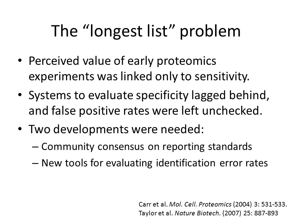 The longest list problem Perceived value of early proteomics experiments was linked only to sensitivity.