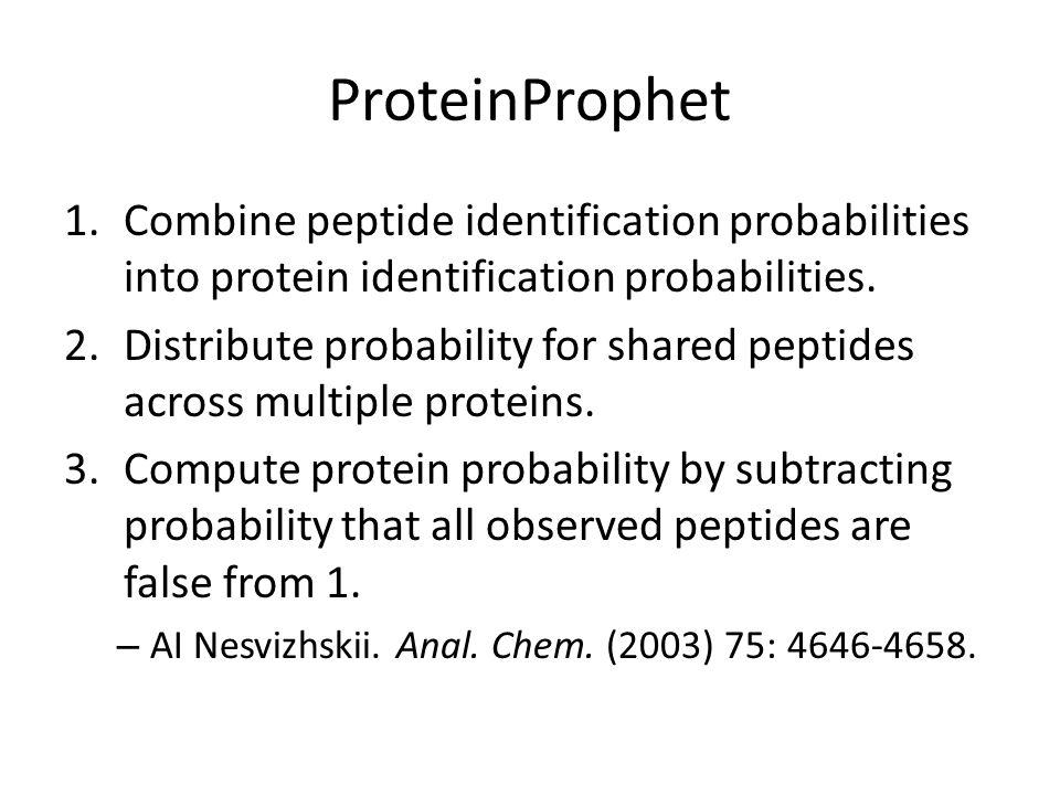 ProteinProphet 1.Combine peptide identification probabilities into protein identification probabilities.