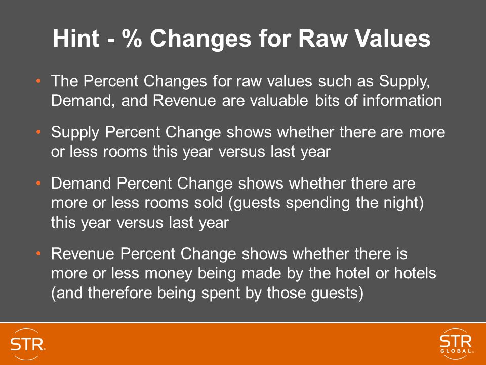 Hint - % Changes for Raw Values The Percent Changes for raw values such as Supply, Demand, and Revenue are valuable bits of information Supply Percent Change shows whether there are more or less rooms this year versus last year Demand Percent Change shows whether there are more or less rooms sold (guests spending the night) this year versus last year Revenue Percent Change shows whether there is more or less money being made by the hotel or hotels (and therefore being spent by those guests)