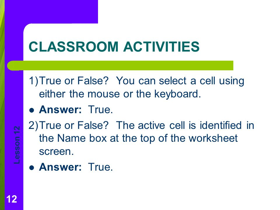 Lesson 12 CLASSROOM ACTIVITIES 1)True or False.