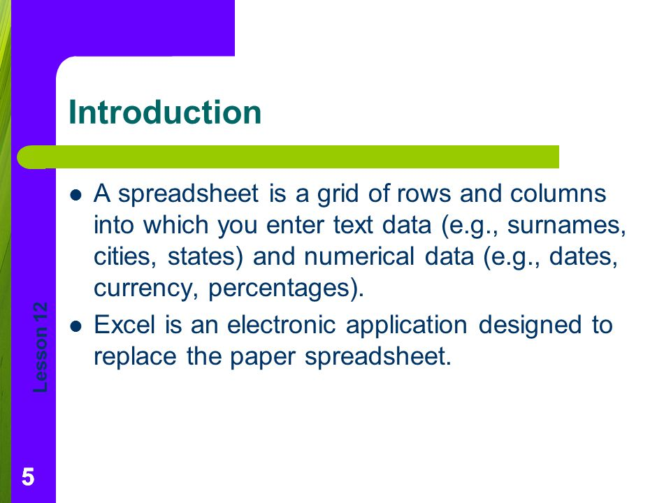 Lesson 12 555 Introduction A spreadsheet is a grid of rows and columns into which you enter text data (e.g., surnames, cities, states) and numerical data (e.g., dates, currency, percentages).