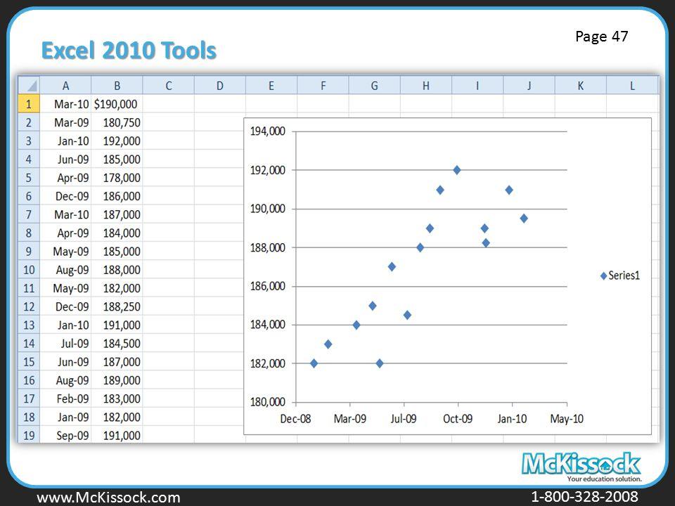 www.Mckissock.com www.McKissock.com 1-800-328-2008 Excel 2010 Tools Page 47