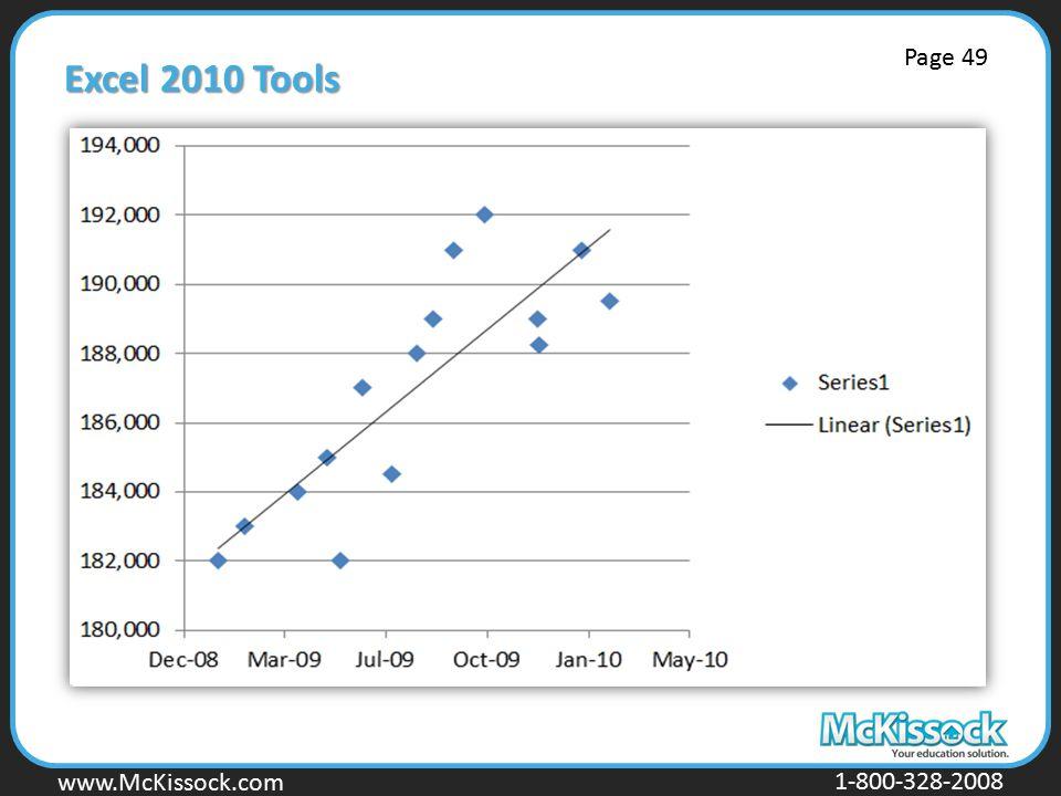 www.Mckissock.com www.McKissock.com 1-800-328-2008 Excel 2010 Tools Page 49