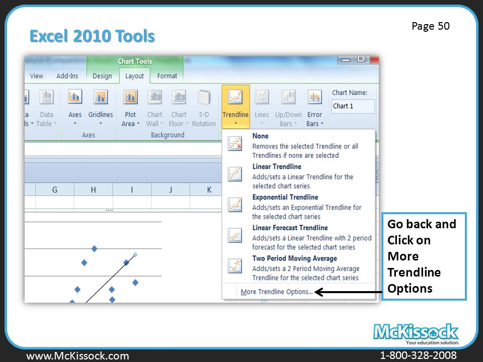 www.Mckissock.com www.McKissock.com 1-800-328-2008 Excel 2010 Tools Go back and Click on More Trendline Options Page 50
