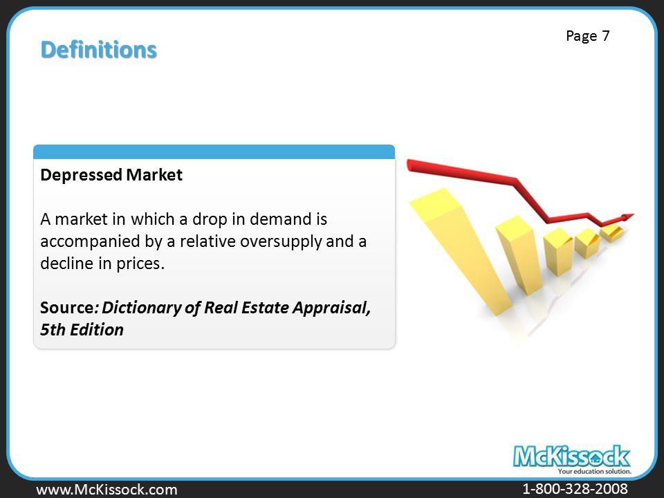 www.Mckissock.com www.McKissock.com 1-800-328-2008 Definitions Depressed Market A market in which a drop in demand is accompanied by a relative oversupply and a decline in prices.