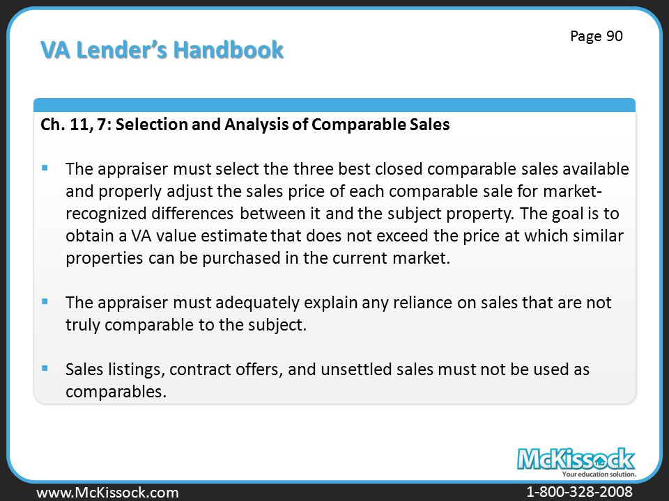 www.Mckissock.com www.McKissock.com 1-800-328-2008 VA Lender's Handbook Ch.