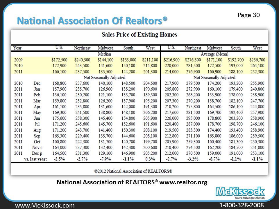 www.Mckissock.com www.McKissock.com 1-800-328-2008 National Association Of Realtors® National Association of REALTORS® www.realtor.org Page 30