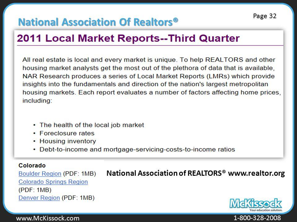 www.Mckissock.com www.McKissock.com 1-800-328-2008 National Association Of Realtors® National Association of REALTORS® www.realtor.org Page 32