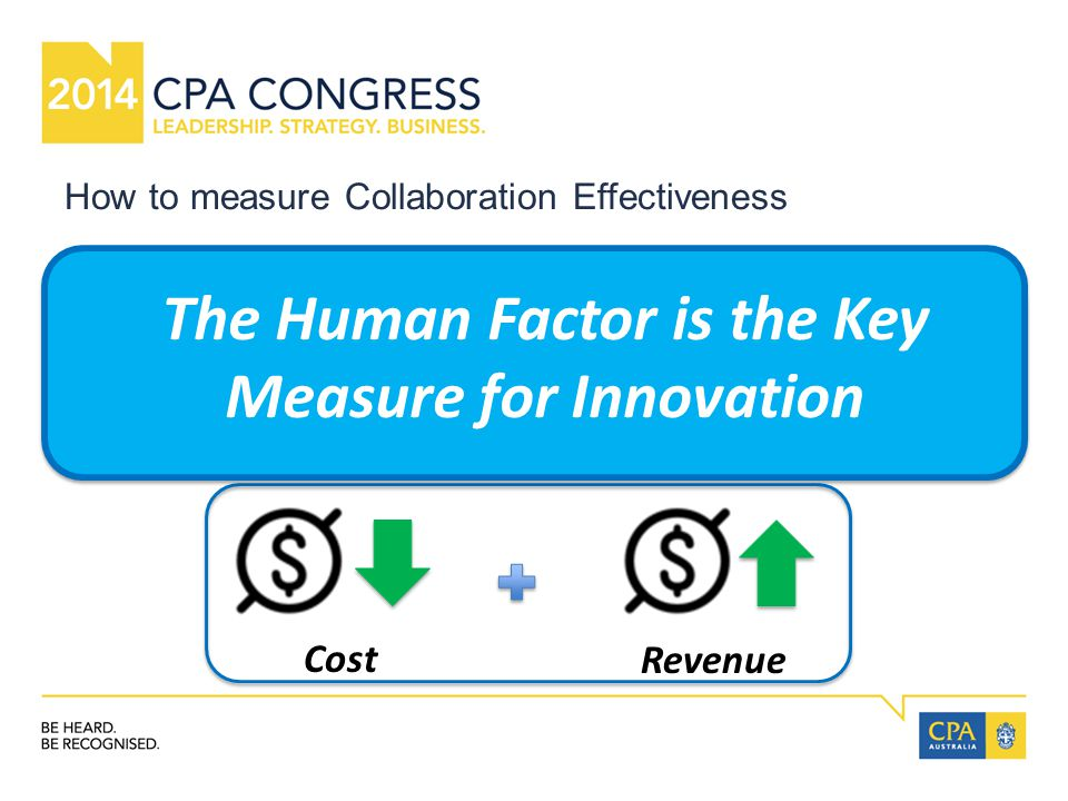 How to measure Collaboration Effectiveness Talent Acquisition and Retention Customer Advocacy Employee Engagement Idea to Execution Cost Revenue The Human Factor is the Key Measure for Innovation