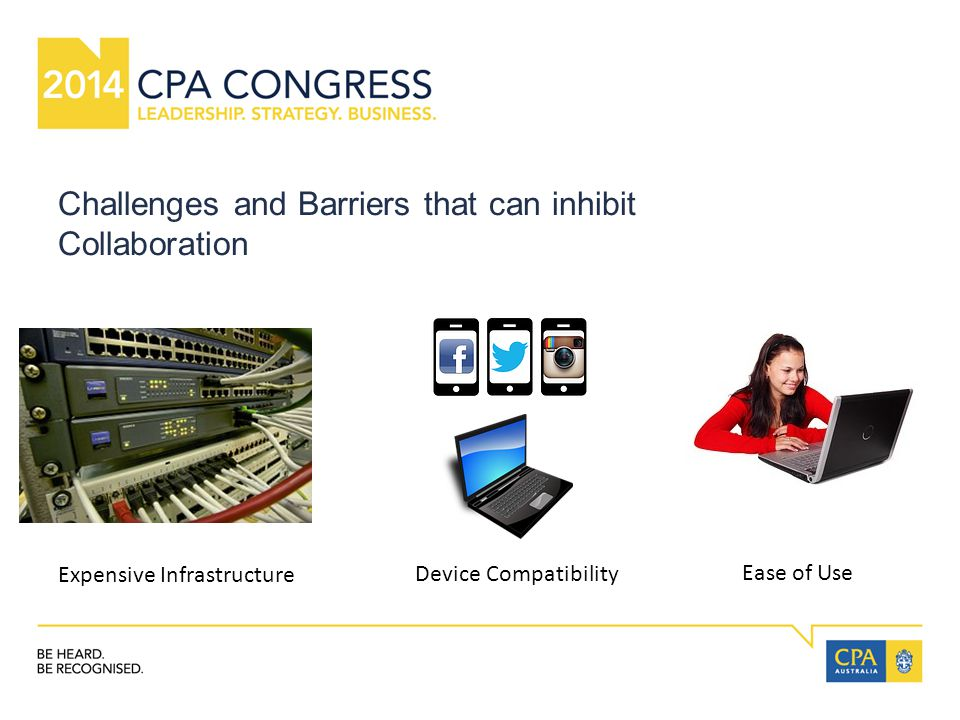 Challenges and Barriers that can inhibit Collaboration Expensive Infrastructure Device Compatibility Ease of Use