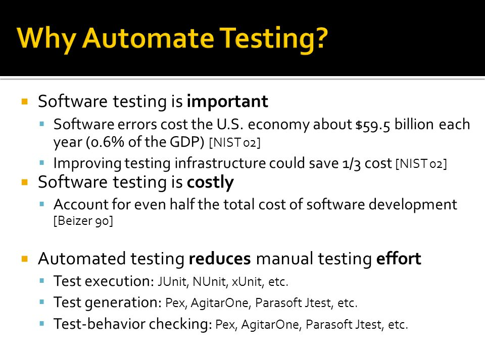  Software testing is important  Software errors cost the U.S.