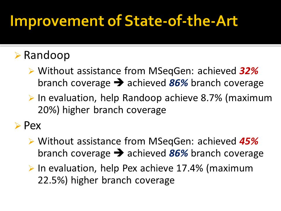 44  Randoop  Without assistance from MSeqGen: achieved 32% branch coverage  achieved 86% branch coverage  In evaluation, help Randoop achieve 8.7% (maximum 20%) higher branch coverage  Pex  Without assistance from MSeqGen: achieved 45% branch coverage  achieved 86% branch coverage  In evaluation, help Pex achieve 17.4% (maximum 22.5%) higher branch coverage