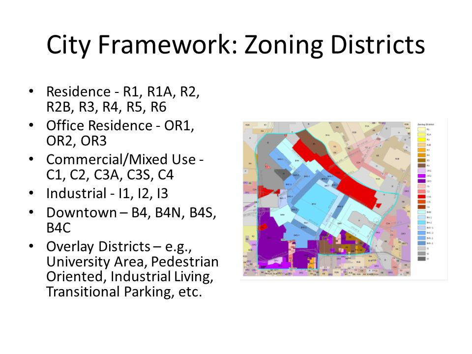 City Framework: Zoning Districts Residence - R1, R1A, R2, R2B, R3, R4, R5, R6 Office Residence - OR1, OR2, OR3 Commercial/Mixed Use - C1, C2, C3A, C3S, C4 Industrial - I1, I2, I3 Downtown – B4, B4N, B4S, B4C Overlay Districts – e.g., University Area, Pedestrian Oriented, Industrial Living, Transitional Parking, etc.
