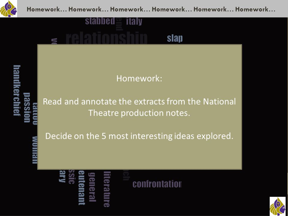 Homework… Homework… Homework… Homework: Read and annotate the extracts from the National Theatre production notes.