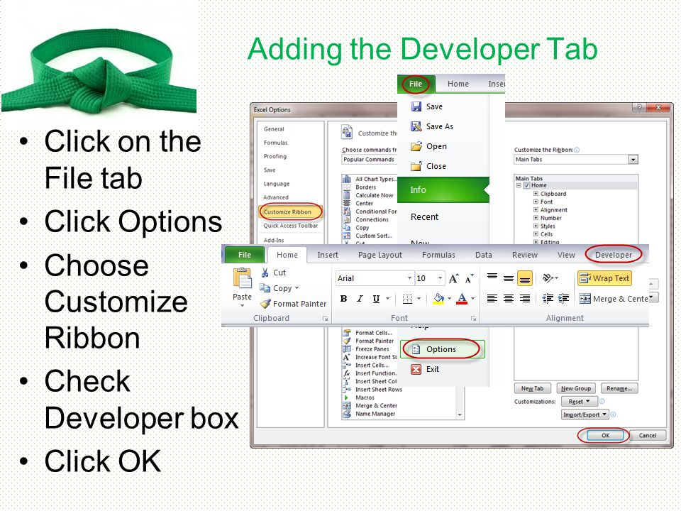 Developer Tab Items The Developer tab is useful for advanced features of Excel 2010 such as creating and recording Macros, or using or editing Visual Basic commands It is also necessary if you wish to insert Form Controls or ActiveX Controls into your spreadsheet
