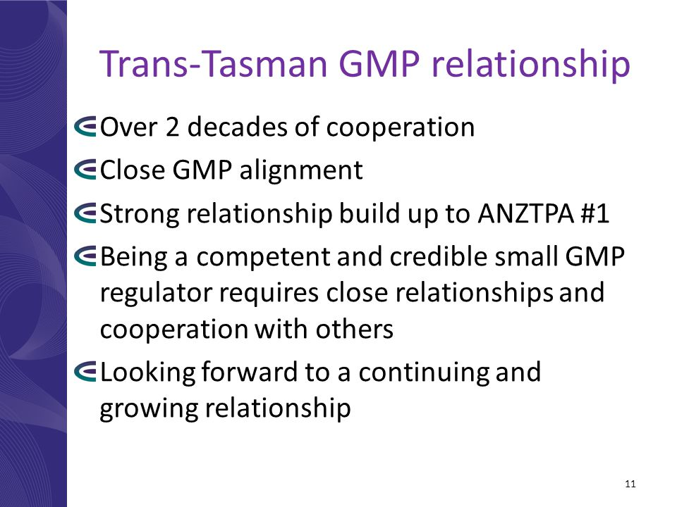 Trans-Tasman GMP relationship Over 2 decades of cooperation Close GMP alignment Strong relationship build up to ANZTPA #1 Being a competent and credib