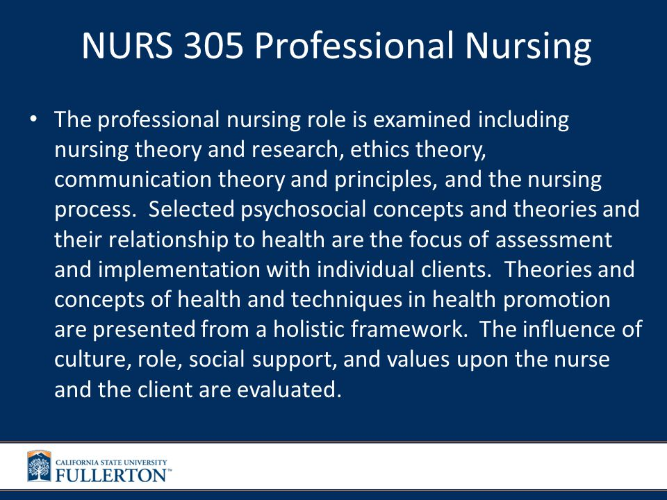 NURS 310 Nursing Research/Evidence Based Practice Emphasis is placed on the development of nursing knowledge and the improvement of nursing practice through current relevant evidence.