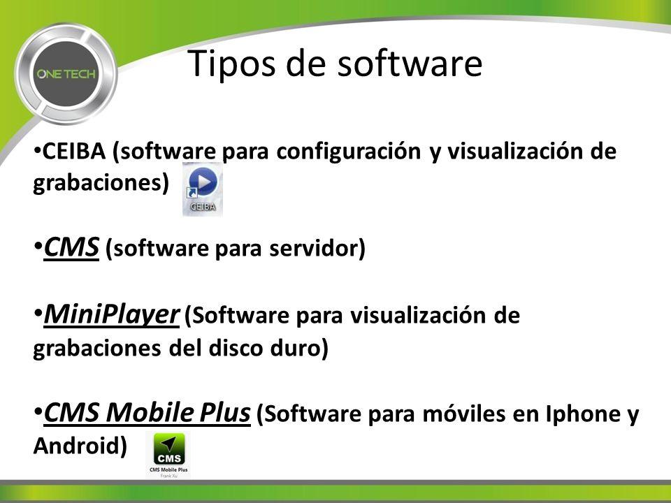 Tipos de software CEIBA (software para configuración y visualización de grabaciones) CMS (software para servidor) MiniPlayer (Software para visualización de grabaciones del disco duro) CMS Mobile Plus (Software para móviles en Iphone y Android)