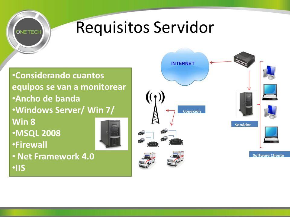 Requisitos Servidor Considerando cuantos equipos se van a monitorear Ancho de banda Windows Server/ Win 7/ Win 8 MSQL 2008 Firewall Net Framework 4.0 IIS Conexión 3G Software Cliente en PCs Servidor INTERNET