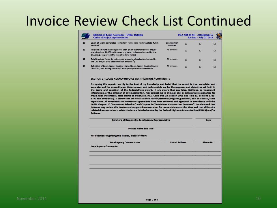 Invoice Review Check List Continued November 201410