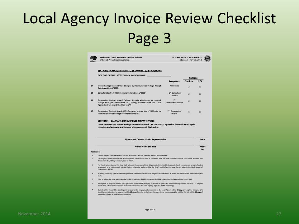 Local Agency Invoice Review Checklist Page 3 November 201427