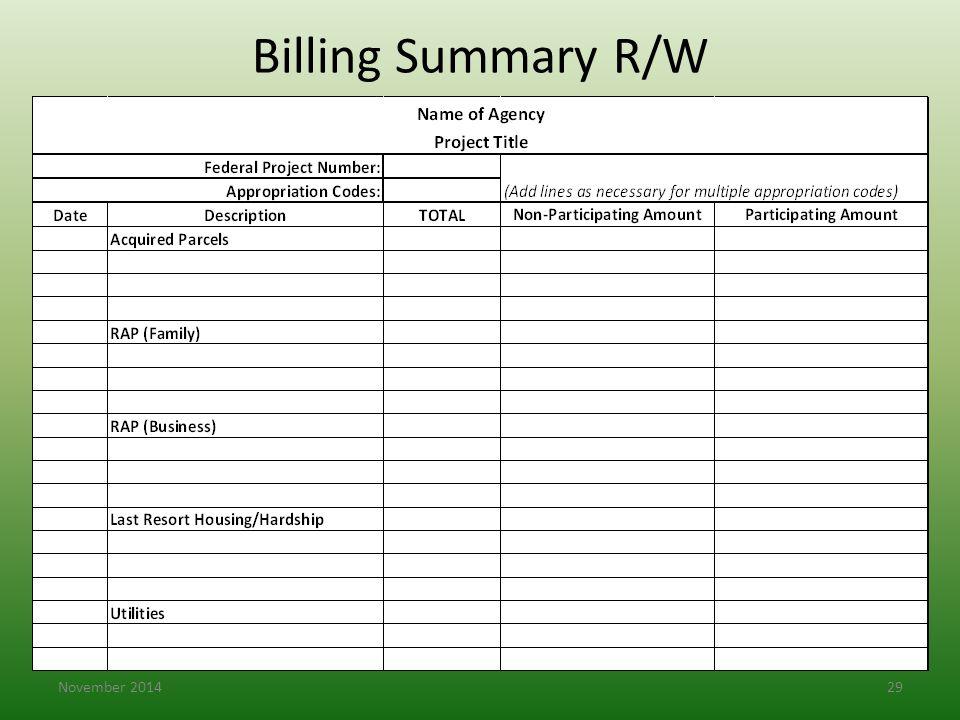 Billing Summary R/W November 201429