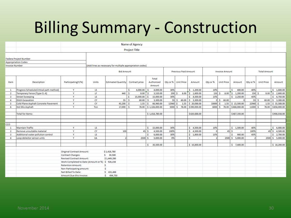 Billing Summary - Construction November 201430